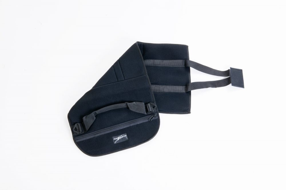 EZ Wrap opened and and showing fixed handle and hook-and-loop strap